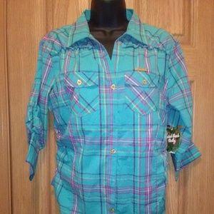 Apple Bottoms 3/4 Sleeve Button Down Shirt NWT!
